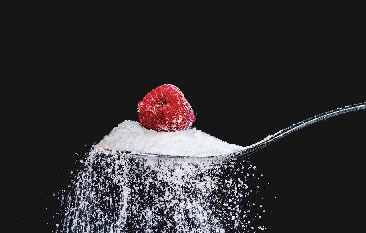 illustration diabète avec sucre et framboise